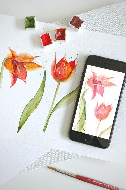 Wildblüten Wallpapier Hochformat