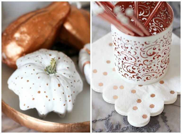 Stylische Herbstdekoration - Weisse Kuerbisse mit Kupfer verzieren - eine DIY Anleitung