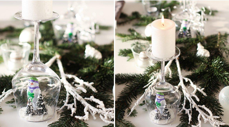 DIY Kerzenleuchter mit Schneekugel