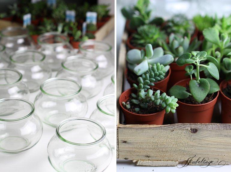 Mini Garten als Gastgeschenk in der Farbe Greenery