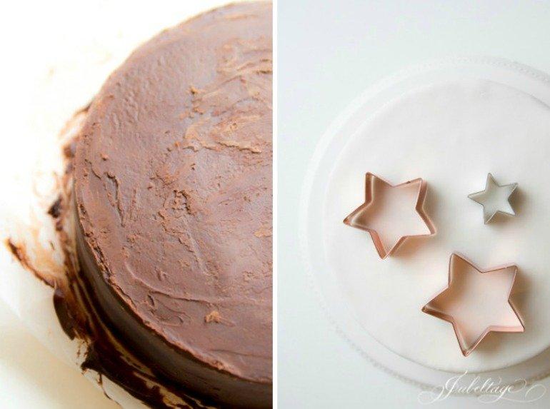 Leckeres Tortenrezept und detaillierte Anleitung für eine Sternen-Torte zu Weihnachten mit Orangen-Buttercreme & Schokoladenganache