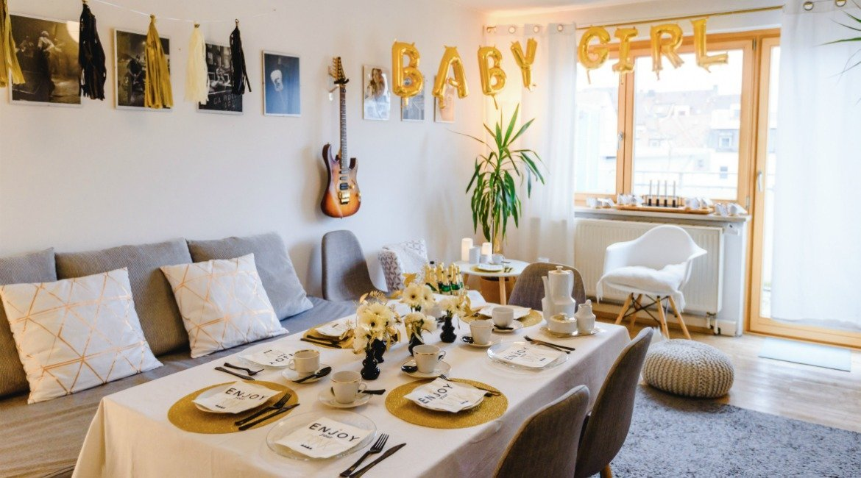 DIY Ideen für eine Baby Shower in den Farben Gold, Weiß und Schwarz