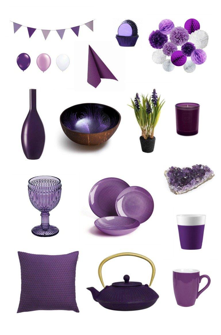 Dekoideen und Partyzubehör in Ultra Violett der Pantone Farbe des Jahres 2018