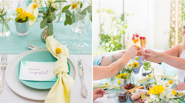 Sommerparty Gartenparty in gelb und aqua türkis