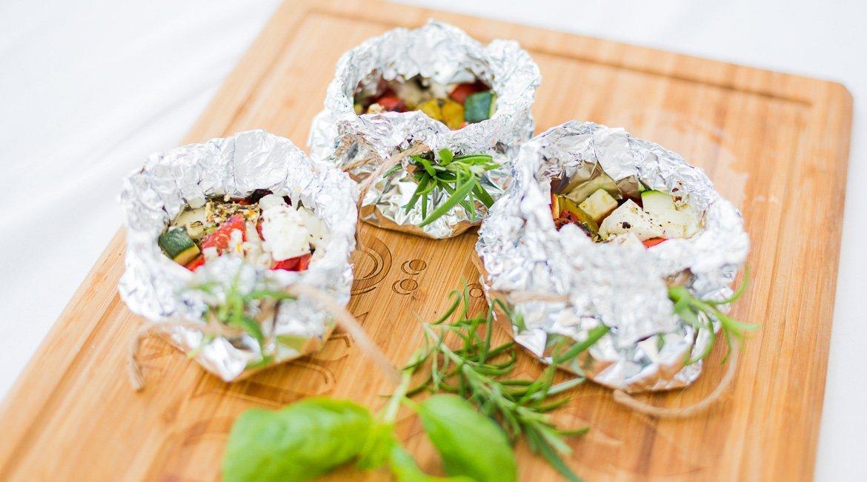 Kartoffel Schafkäse Päckchen Säckchen vom Grill