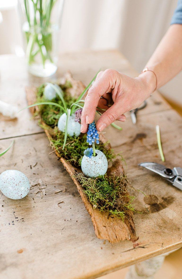 DIY Eier Ostern Baumrinde