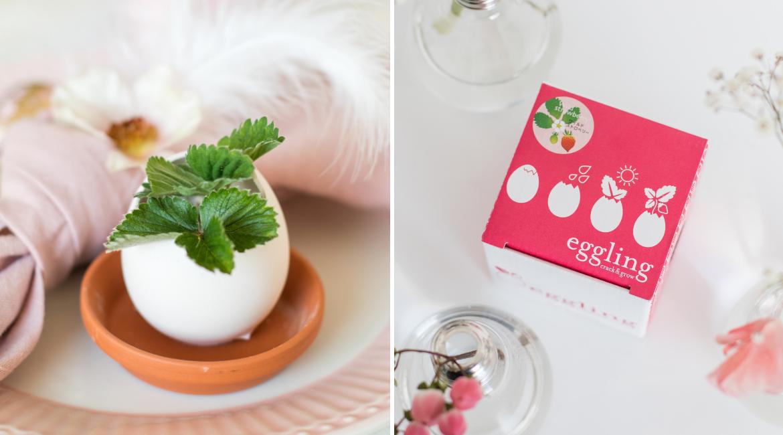 Natürliche Tischdekoration im Ei für Ostern
