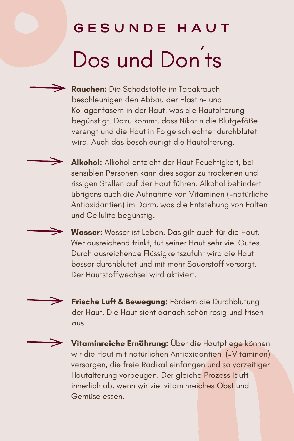 Dos and Donts in der Hautpflege